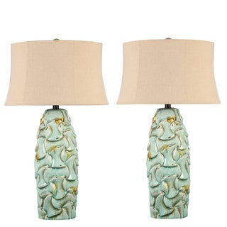 Blue Ceramic Table Lamp with Ivory Shade - A Pair