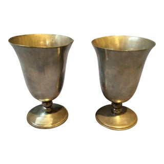 Pair of Vintage Pewter Goblets