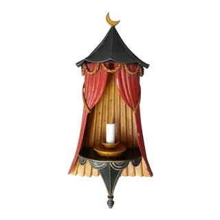 Red & Blue Tole Wall Sconce