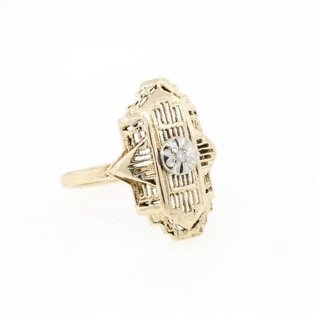 Image of 10 K Gold Filigree Diamond Ring