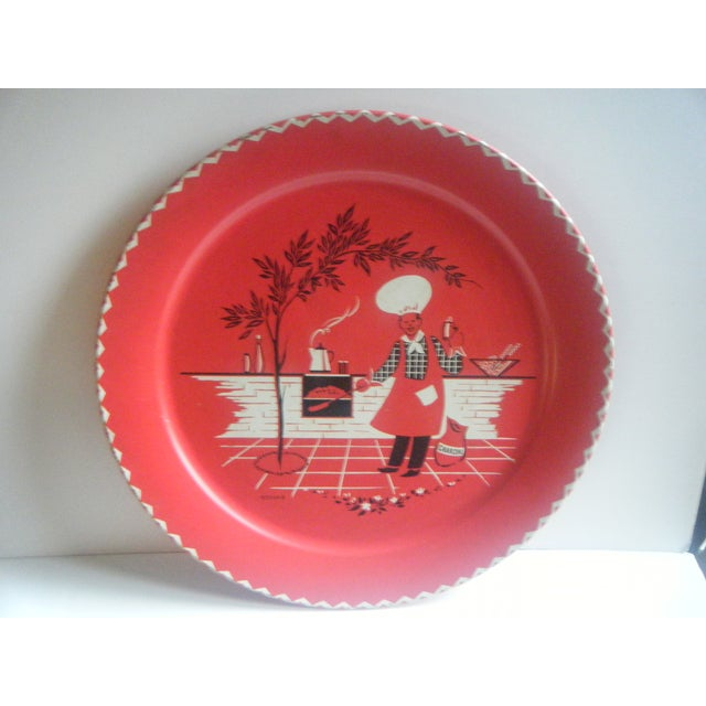 Image of Vintage 1950s Red Metal Barbecue Platter Tray