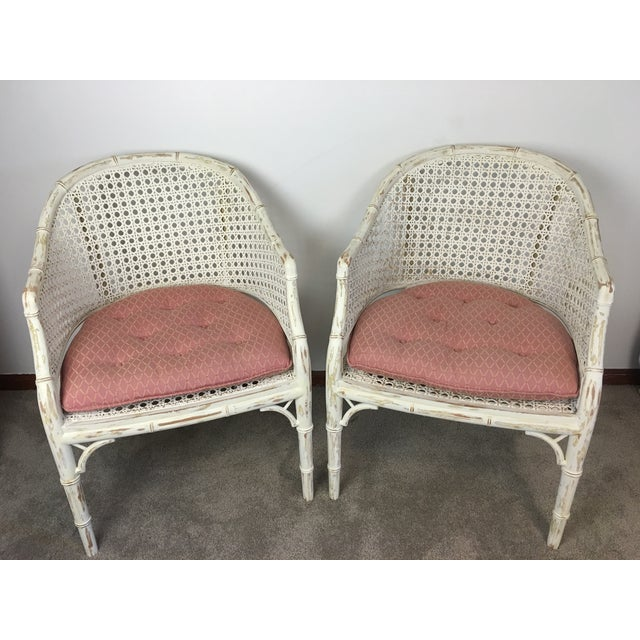 Vintage Faux Bamboo Rattan Chairs - A Pair - Image 3 of 8