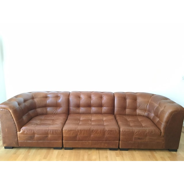 ken fulk cognac leather sofa chairish. Black Bedroom Furniture Sets. Home Design Ideas