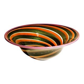 Gold Fleck & Orange Swirl Art Glass Bowl
