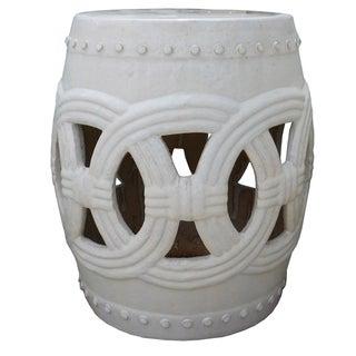 Chinese White Coin Round Clay Ceramic Stool