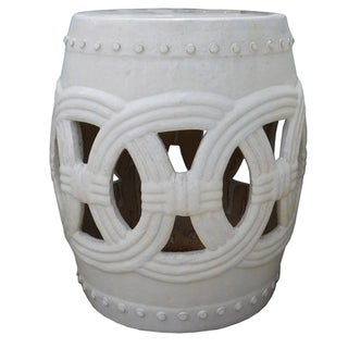 Chinese White Coin Round Clay Ceramic Stool