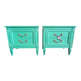 Vintage Painted Bright Green Nightstands - A Pair