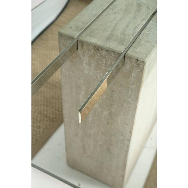 Travertine and Chrome Console Table by Ello Furniture - Image 4 of 8