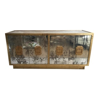 World's Away Mirrored Gold 4-Door Credenza