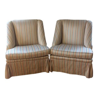 Striped Skirted Slipper Chairs - A Pair