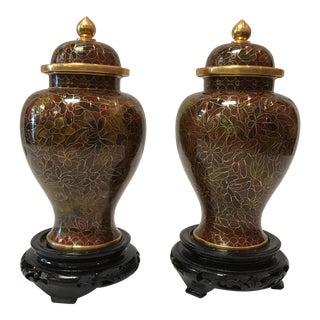 Vintage Cloisonné Jars - A Pair
