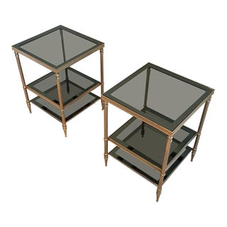 Pair of Jensen Style French Brass and Grey Glass End Tables