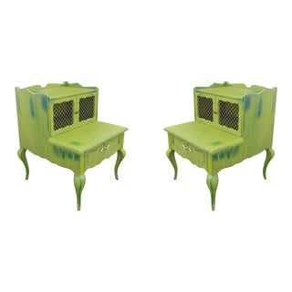 Mid-Century Green Nightstands - a Pair