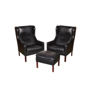 Mid-Century Leather Wingback Chairs with Ottoman
