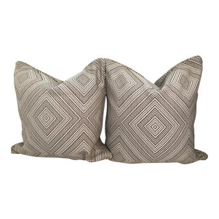 Schumacher Tortola Jacquard Driftwood Pillows - A Pair