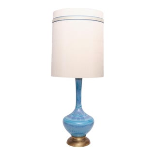 Vintage Large Mid Century Modern Glazed Pottery Blue Lamp by Phil Mar