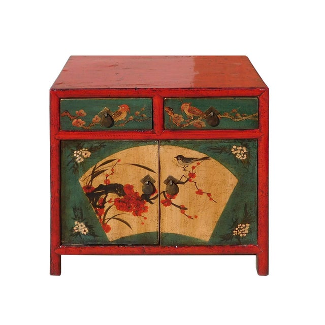 Chinese Red Green Flower Bird Nightstand - Image 2 of 6