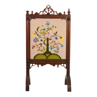 Victorian Embroidered Fireplace Screen