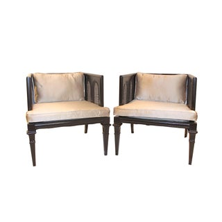 Hollywood Regency Walnut & Cane Chairs - A Pair