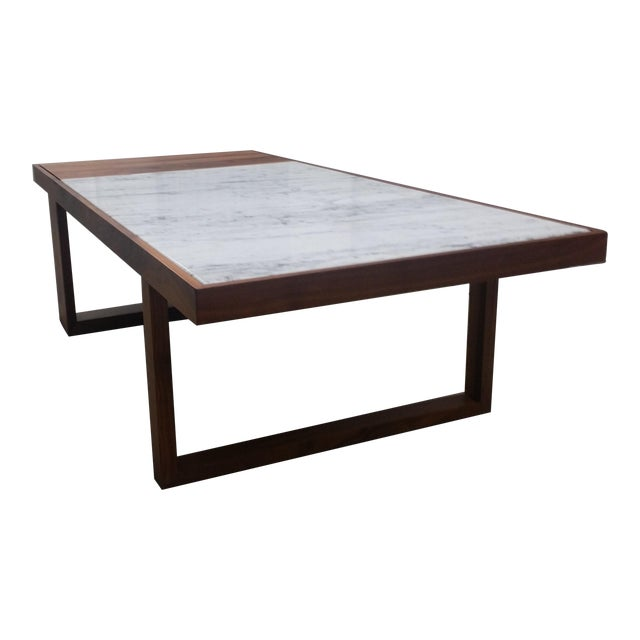 Mid-Century Modern Marble Top Coffee Table