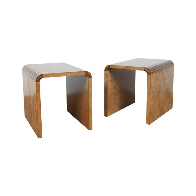 Mid Century Burlwood Nightstands - 2 - Image 1 of 9