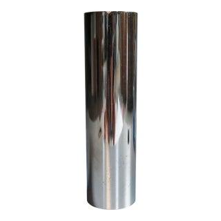 Vintage Modernist Chrome Cylinder Vase by Ikebana
