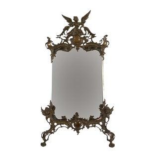 19th C. Art Nouveau Table Top Bronze Mirror