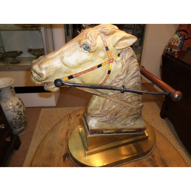 Carved Wood & Polychrome Horse Head Lamp - Image 3 of 4