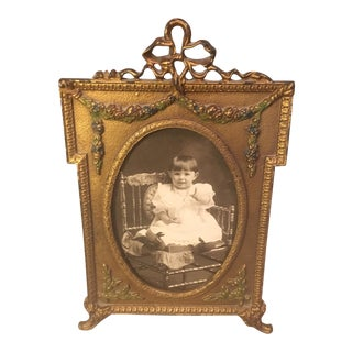 Antique Ornate Cast Iron Picture Frame