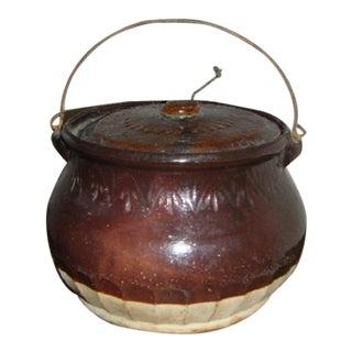 Antique Brown & Cream Colored Stoneware Bean Pot
