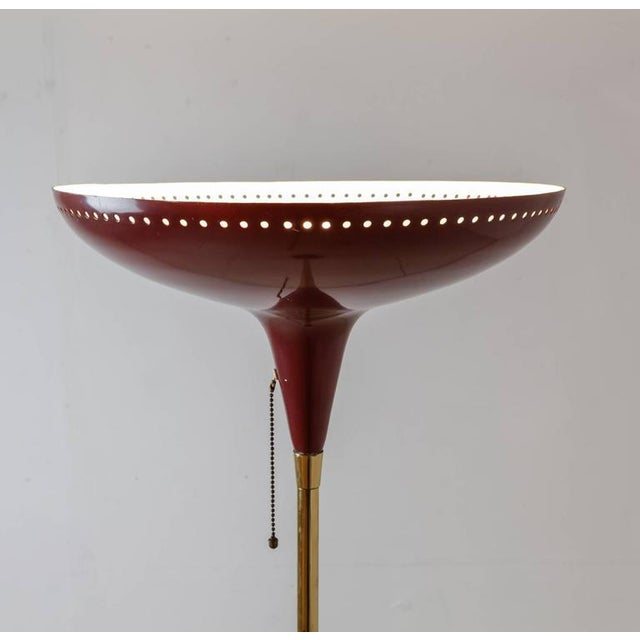 Image of Italian Uplighter Floor Lamp in Wonderful Dark Red, 1950s