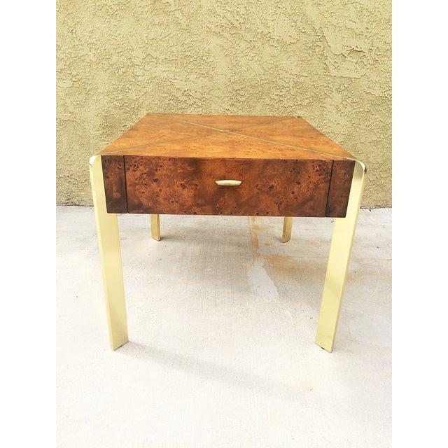 Milo Baughman Burlwood and Brass End Table - Image 3 of 9