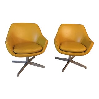 Vintage Overman Style Swivel Chairs - a Pair