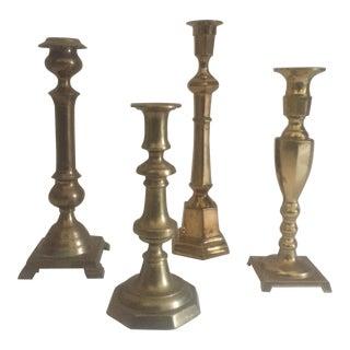 Vintage Brass Turned Candlesticks - Set of 4
