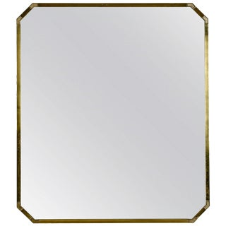 Large Mid-Century Italian Brass Framed Mirror