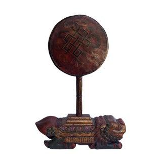 Vintage Tibetan Wooden Music Instrument Statue