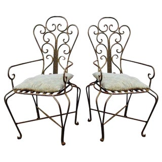 French Mediterranean Iron Chairs - a Pair Boho Glam Moroccan Inspired Country French