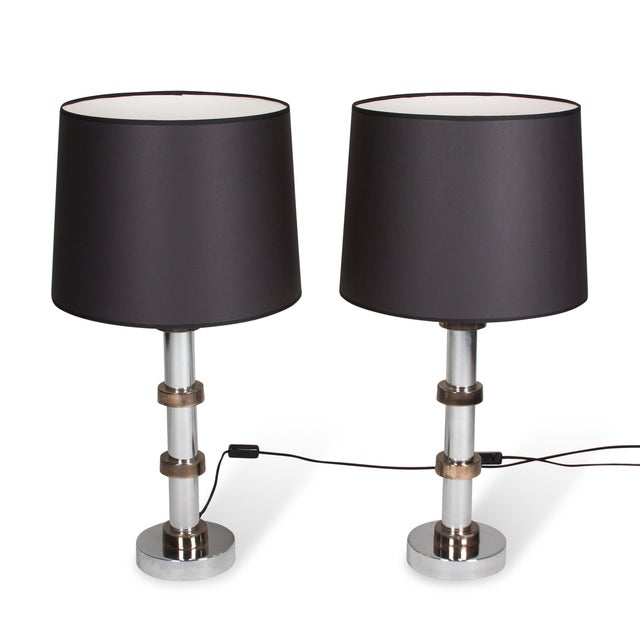 Image of Vintage 1960s Faux Bamboo Chrome Lamps - A Pair