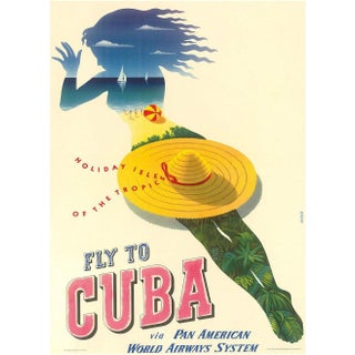 Cuba Travel Poster, Matted and Framed