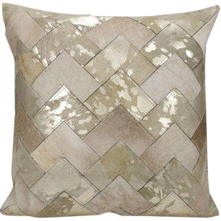 Natural Leather & Hide Chevron Pillow
