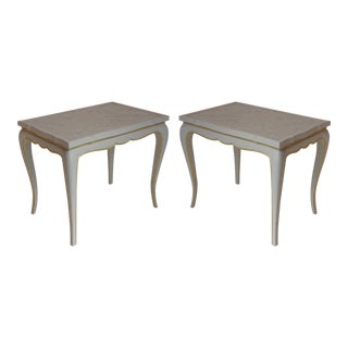 Vintage Side Tables With Granite Tops - Pair