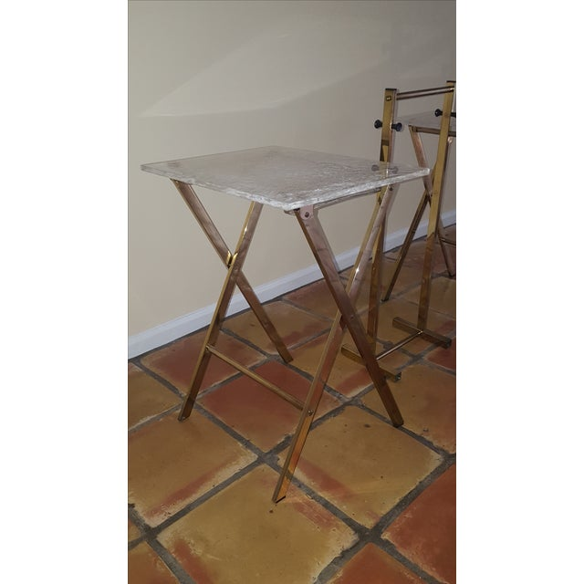 Lucite & Brass Tray Tables & Caddy - Set of 2 - Image 6 of 7