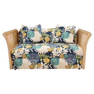 Blue Floral Bamboo Settee