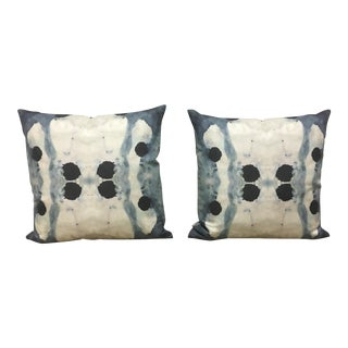 Linen Cotton Blend Blue, Black, and White Watercolor Pillows - A Pair