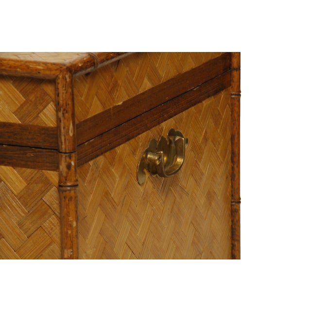 Image of Vintage Rattan and Faux Bamboo Trunk