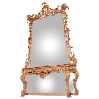 GEORGE III IRISH ROCOCO STYLE CARVED PINE PIER MIRROR AND MATCHING CONSOLE