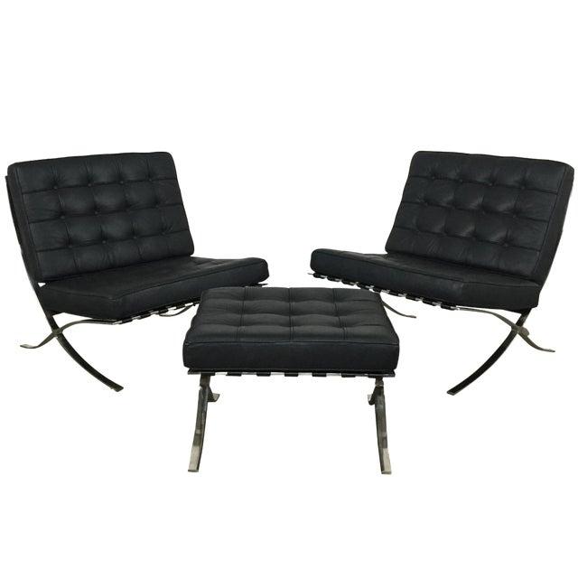 barcelona chairs ottoman set of 3 chairish. Black Bedroom Furniture Sets. Home Design Ideas