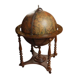 Italian Mid-Century World Globe Bar
