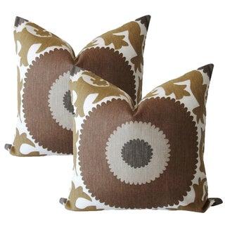 Taupe Gulkurpa Suzani Pillows - A Pair
