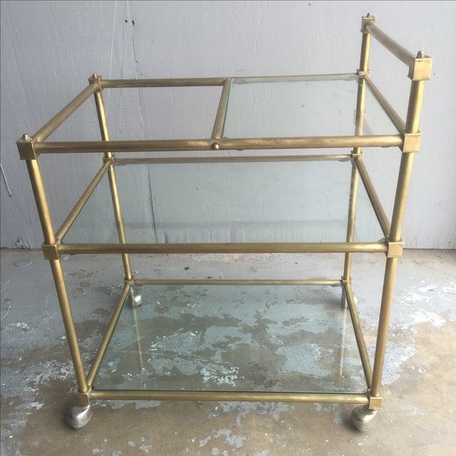 Vintage Mid Century Brass Bar Cart - Image 2 of 6